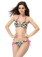 White mix pink cool design free shipping S M L size leopard sexy woman fringe swimwear,victoria style waisted bikini padded top