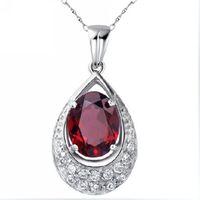 Silver platinum natural garnet pendant luo dan female