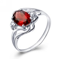 Silver platinum natural garnet ring crystal gift