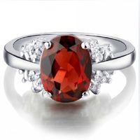 Silver platinum natural garnet ring classic fashion elegant