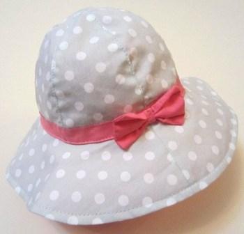 Large brim gray polka dot red bow children bucket hats children sun hat female child fashion hat