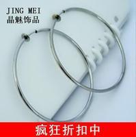 60mm steel star big circle no pierced earrings