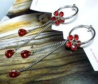 Red tassel earrings invisible ear clip no pain none pierced earrings earring