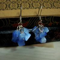 Mm natural blue cat-eye macadam bohemia no pierced earrings clip
