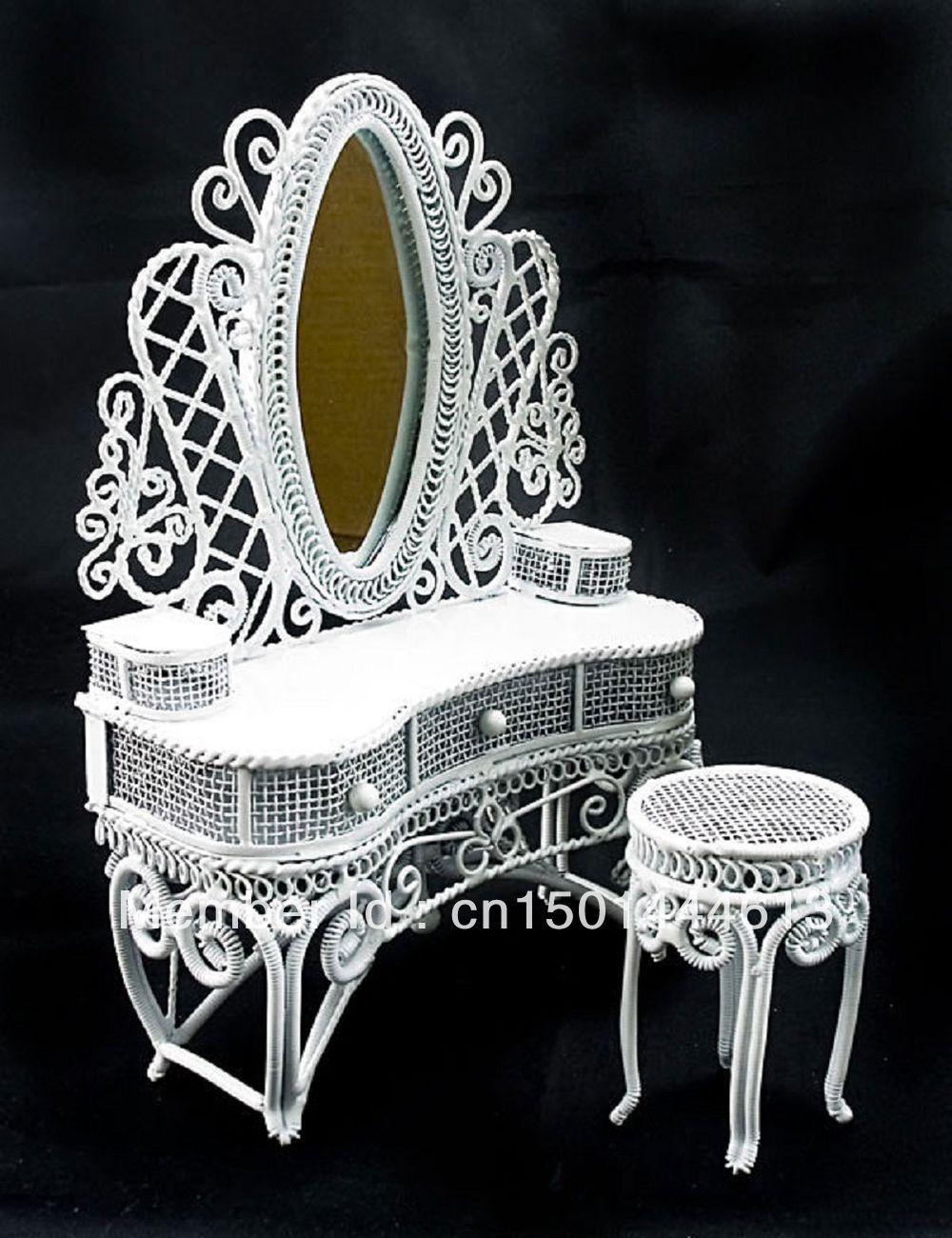 Fio branco Vanity espelho e cadeira 1:12 de Doll House móveis Dollhouse Set jóias Display(China (Mainland))