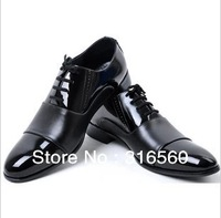 Best Selling!!2013 Fashion men's leather shoes black business casual sport oxfords shoes Free Shipping