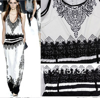 Free Shipping 2013 Summer Fashion Black And White Printed Sleeveless Vintage Jumpsuit With Belt For Women Stretch Ladies Rompers