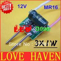 20pcs 3X1W LED 12V MR16 driver, 3*1W for MR16 lamp cup drive 3pcs 1W LED high power lamp bead, 3W MR16, Free shipping!