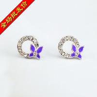 New arrival gentle butterfly crystal stud earring anti-allergic earrings