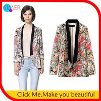 New 2014 Women's Black Neck Print Flower Casual Jackets blaser feminino blazer feminino casacos femininos