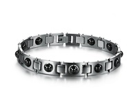 New Health Bracelet Men Black Stone Energy Magnet Bracelets Wholesale Price The Man Chain Charm And Bangle Punk Style