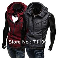 Free Shipping Men's Sleeveless Hoodies Vests Coat Stylish Cotton Waistcoat Slim Knitting Vest ! 3 color,M-L-XL-XXL