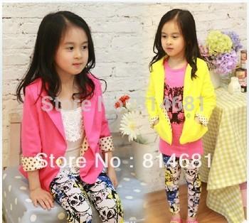 Children Tops New Spring Autumn 2013 Baby/Children Grils top Outerwear Girls Fashion Jacket Long-Sleeve Kids Suit/blazer/coat