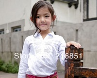 2013 new, girls spring autumn white shirts, fashion casual summer school blouses, brand blouse for girl/children's/baby/kids