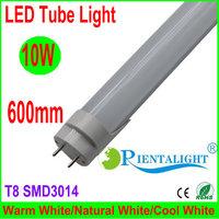 10x LED Tube T8 600mm /2ft 10W, 96PCS LEDs, SMD3014,Living Light,Frosted PC Cover,AC100V-240V,High Brightness, Express Shipping,