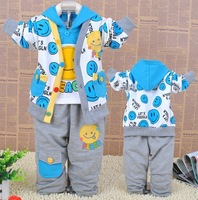 Lovely cartoon face smiling baby boys sets boy clothing suits2013 autumn 3 pcs coat + hooded T-shirt + pants 3sets/lot wholesale