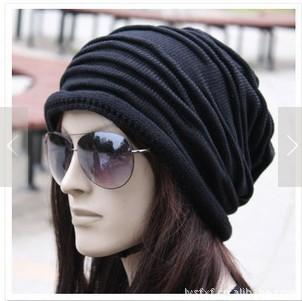 1pcs,Korean version of popular folding cap,Winter hat,Fashionable men and women knitting wool cap,3color,Free shipping.(China (Mainland))