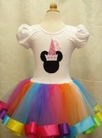 EMS DHL Free Shipping Kids Girls TUTU PETTI Bithday Holiday Party dance dress Holiday Costume Minnie Rainow Dress