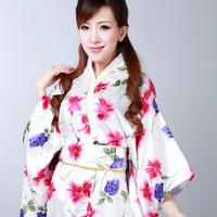 HQ Japanese Tradition Style Women's White Noble Silk fabric Vintage Dress Kimono Kaftan Yukata As Nightwear#H0048 free shipping