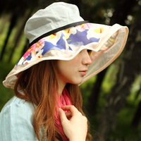 Hat female summer women's breathable print beach cap large along the sunbonnet sun hat sun hat