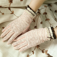 Summer lace uv sunscreen gloves slip-resistant driving gloves ruffle hem toe sun-shading