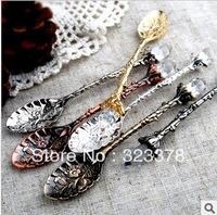 [100pcs/lot] Hot !European style Zinc alloy vintage Carved flower spoon mixing/coffee/ice spoon/ableware, free shipping, JY45