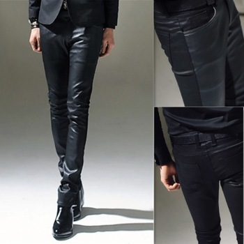 Trend 2013 men's slim denim patchwork leather pants fashion male tight-fitting boot cut jeans  mens skinny leather pants
