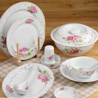 Porcelain tableware ceramic bowl 56 dinnerware set bone china bowl set gold double