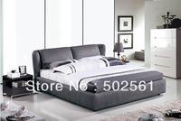 2014 new grey luxury fabirc soft bed modern casual leisure bedroom furniture include salt
