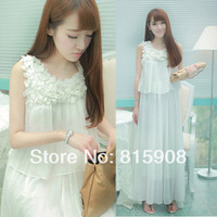 free shipping women  summer vintage dresses evening      bohemia chiffon skirt full  beach     lady dress 2013