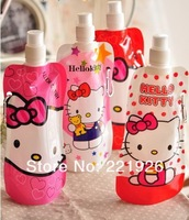 Hello Kitty Bag Portable Cup Sports Bottle Outdoor Mountaineering Collapsible Sport Travel Water Bottles 5pcs/lot