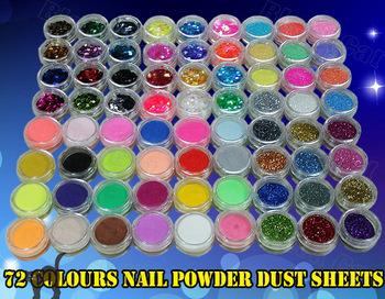 Free Shipping 72 Colours Glitter Nail Acrylic Powder Dust sheet Sets Nail Glitter Powder Art Decoration Crush Shell Bead colors