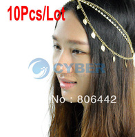 Cheapest 10Pcs/Lot Fashion Stunning Gold Crystal Leaf Chains Hair Cuff Pin Headband Hair Accessories Gothic 12345