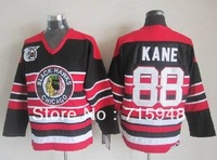 New Hockey Jerseys Blackhawks #88 Jersey Black Stripe 75th Size 48-56 Stitched Mix Order Red Color