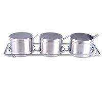 4-piece set round stainless steel spice jar seasoning box with rack