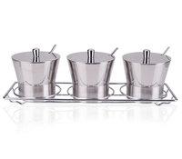 Stainless steel kitchen utensils Y shape spice jar set sauce pot seasoning box with rack