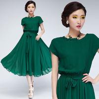 2014 medium fashion elegant summer dress women green black plus size s m l xl free shipping maxi dresses party
