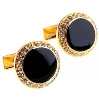 cufflinks white gold Antique Retro love of luxury fine crystal black paint gold round cufflinks