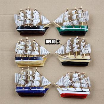 Log handmade wool sailing boat refrigerator stickers sailing boat model of the refrigerator stickers decoration