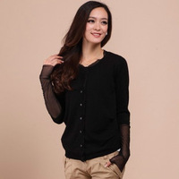 2013 spring lace decoration round low collar cardigan cashmere sweater coat sweater women's