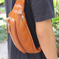 Casual cowhide waist pack male genuine leather chest pack outside sport man bag women's handbag