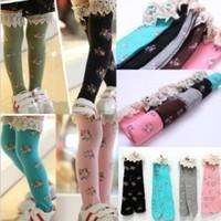 Free shipping! Popkid girls' socks long sock  lace border stock children socks Fashion 5 colors 2 pairs/lot