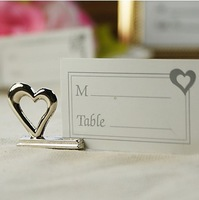 Wholesale Free shipping 50pcs/lot wedding accessory of Silver LOVE Place Card Holders wedding favors