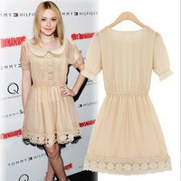 S-XL Free Shipping 2013 Fashion First Quality Summer Dress Women's Wear Lace Chiffon Dress F56