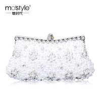 Mostyle women's handbag double faced pearl rhinestone evening bag day clutch bridal bag small bag a0038