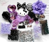 DIY 3D Bling Purple Hello Kitty Cabochon Rhinestone Resin Flatback Deco Kit for Phone Case Pad Case