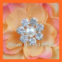 Free Shipping!100pcs 24mm Pearl& Crystal Rhinestone Cluster,Wedding  Embellishment ,Rhinestone Brooch