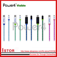 Free shipping Power4 Visible LED Light USB Charging data Sync EL Cable for Galaxy/htc/motorola/sony phone
