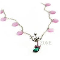 2013 New Fashion Body Piercing Crystal Navel Ring Bar Body Jewelry Long Chain Belly Dance The Best Partner 12623