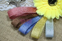"Wholesale DIY 1"" (25mm) Metallic Ribbon Metallic Glitter Ribbon - Mixed 2 Colors,Per color 25yards,Total 50yards"